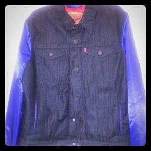 Levi's Giants jacket. Denim jacket w/ blue sleeves
